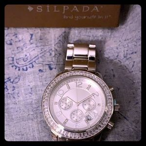 Silpada Stainless and Cubic Zirconia Watch NEW